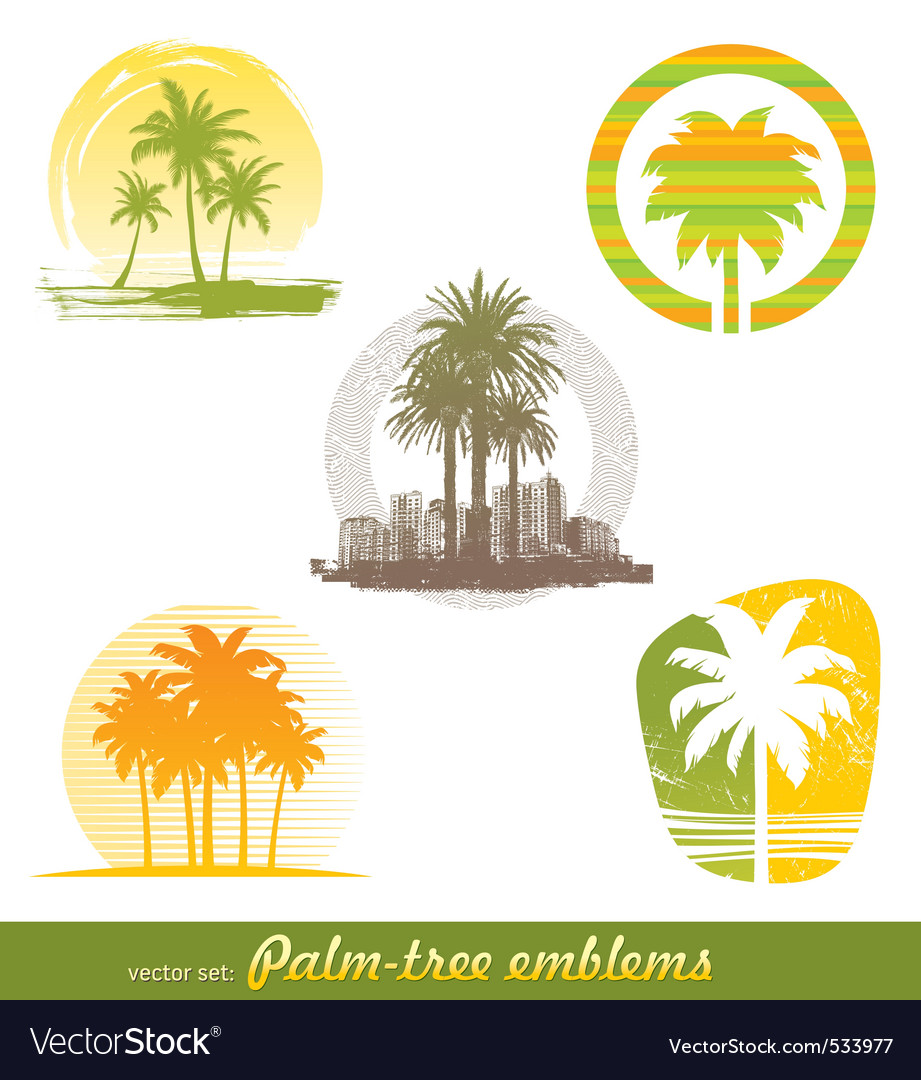 Palm tree emblems labels