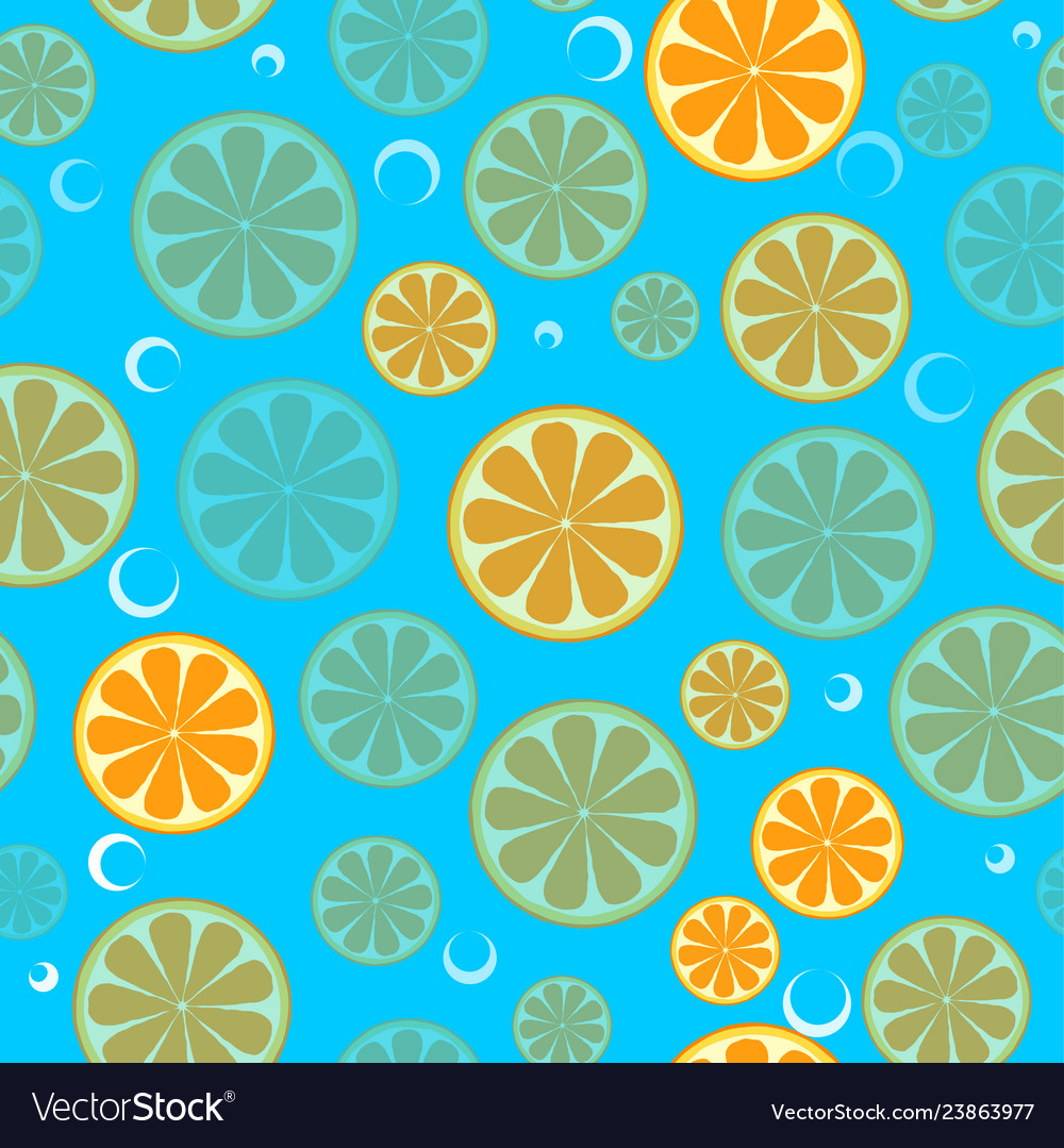 Seamless pattern with sliced oranges background