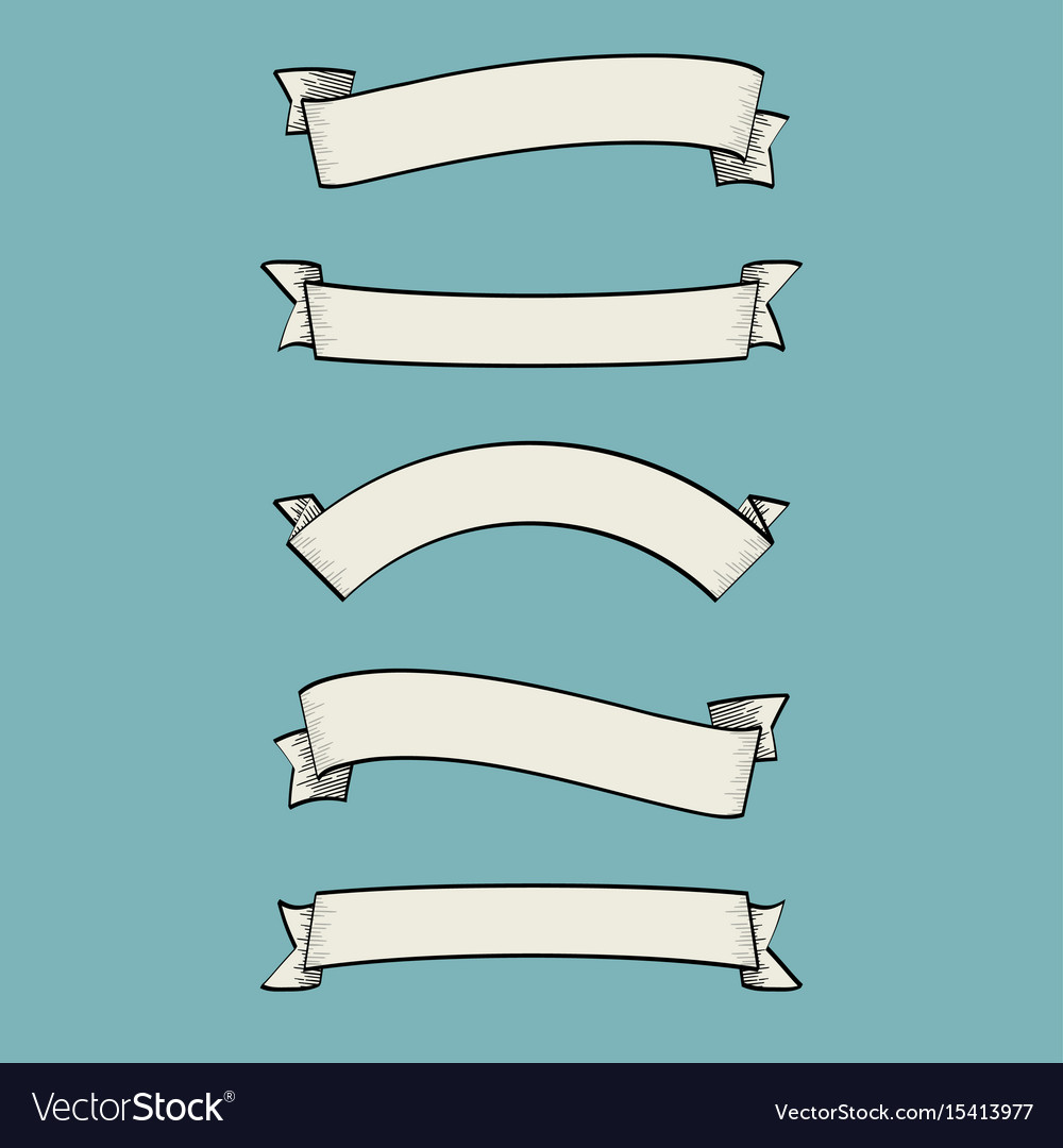 Set old vintage ribbon banners and drawing in e
