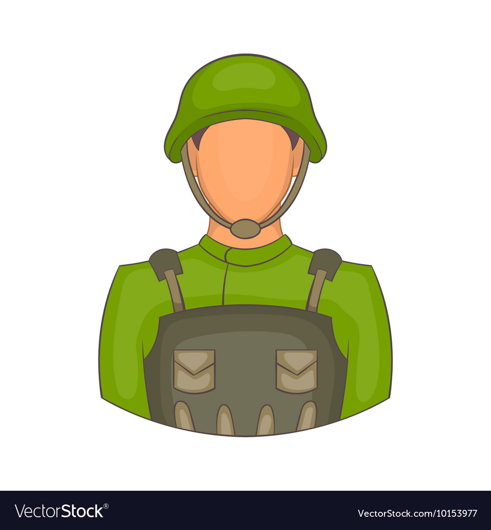 Soldier icon in cartoon style vector image