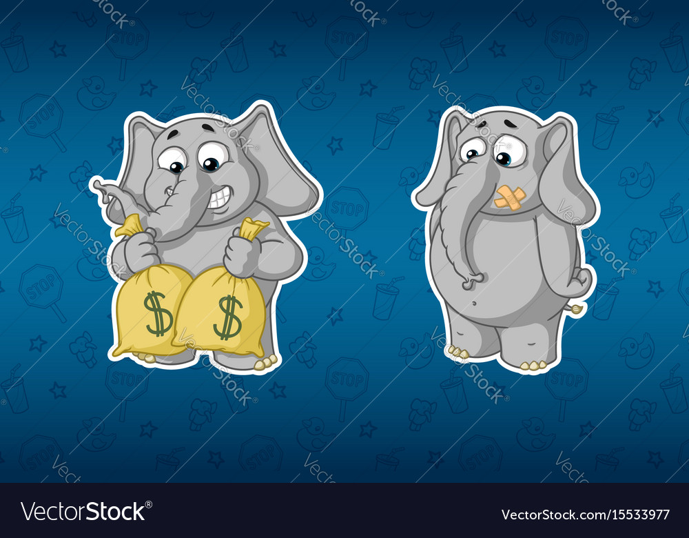 Stickers elephantsholds bags of money much money vector image