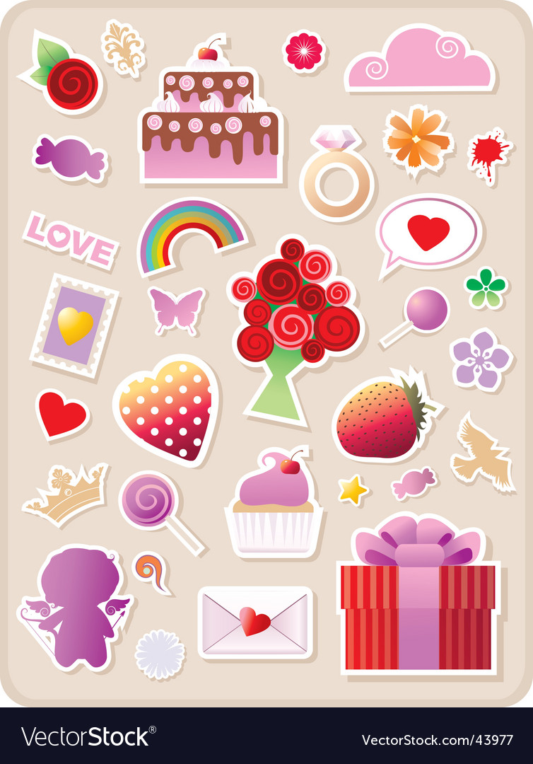 Valentines stickers vector image