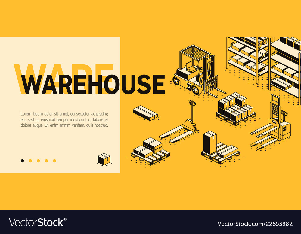 3d isometric site template - warehouse