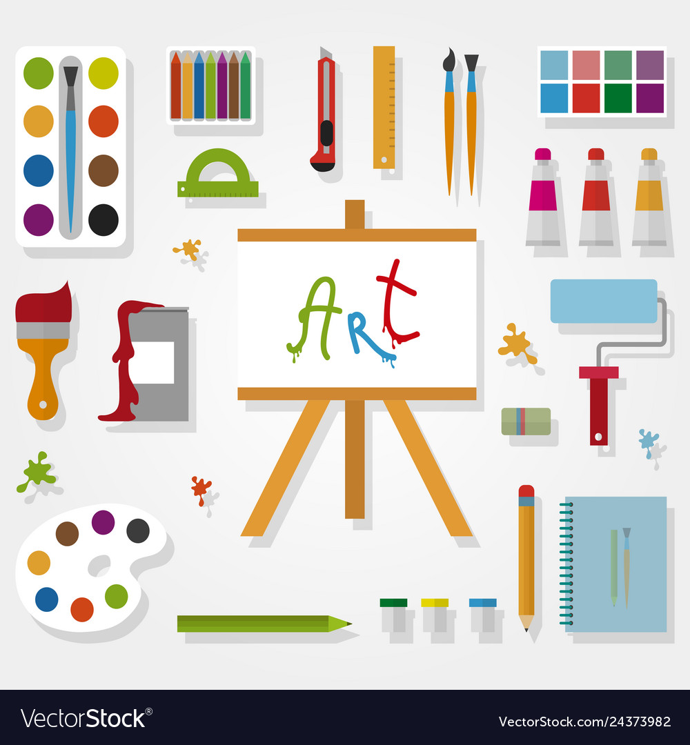 Art accessories in flat style on gray background
