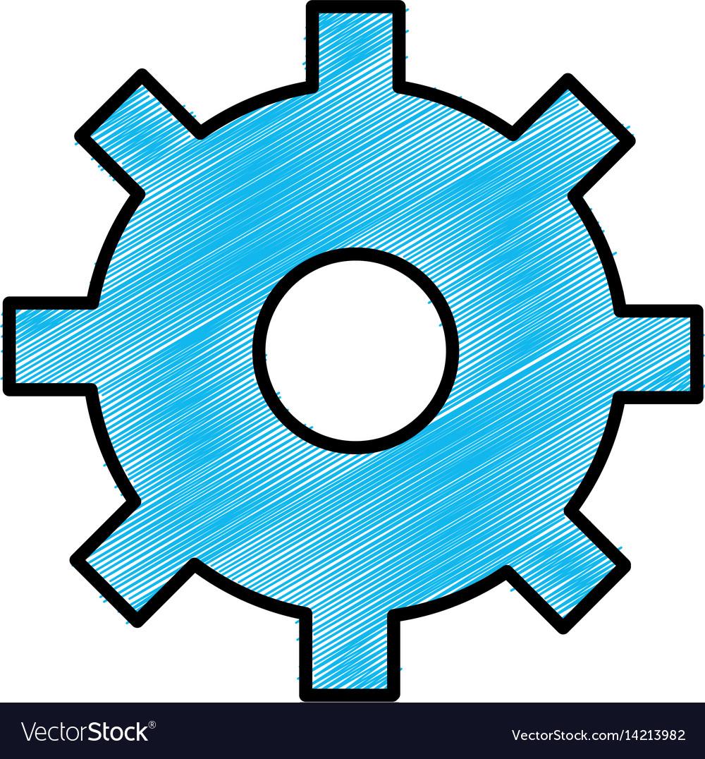 Blue gear symbol process industry vector image