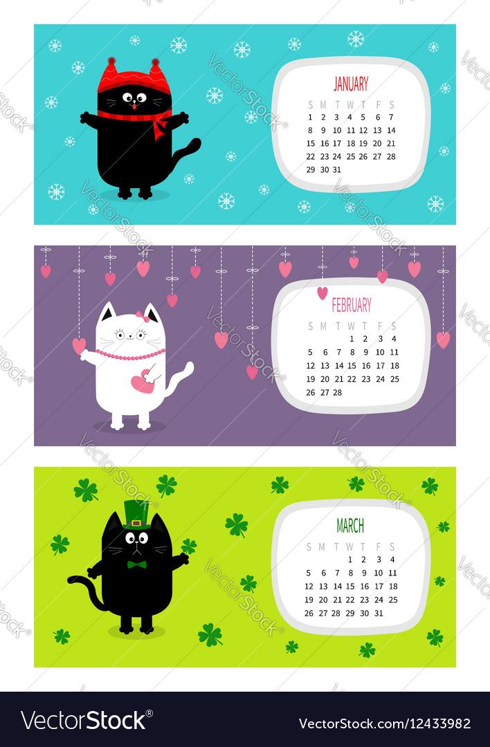 Cat horizontal calendar 2017 Cute funny cartoon