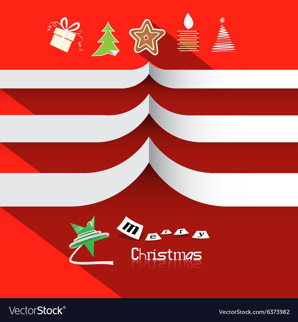 Christmas Paper Symbols on Red Background with vector image