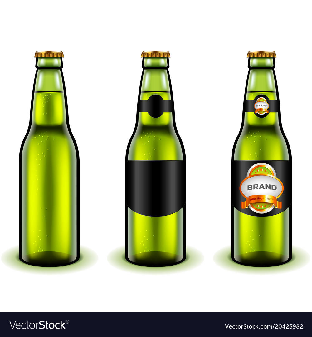 Green beer bottle design 3d realistic