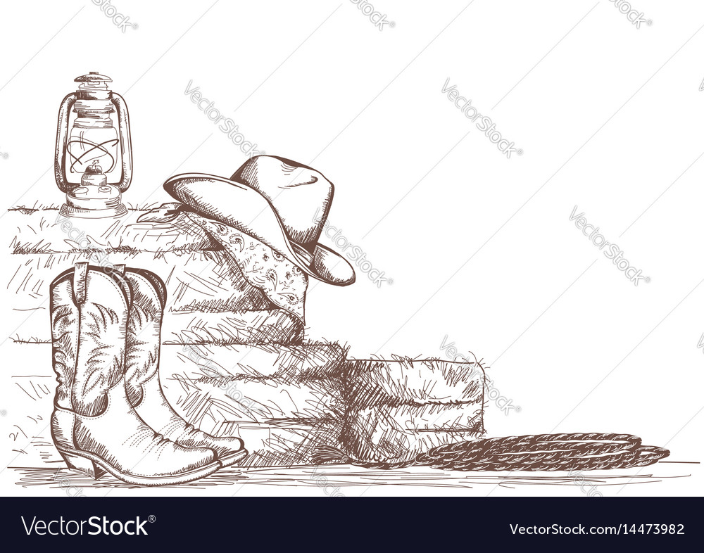 Hand draw cowboy background with western boots