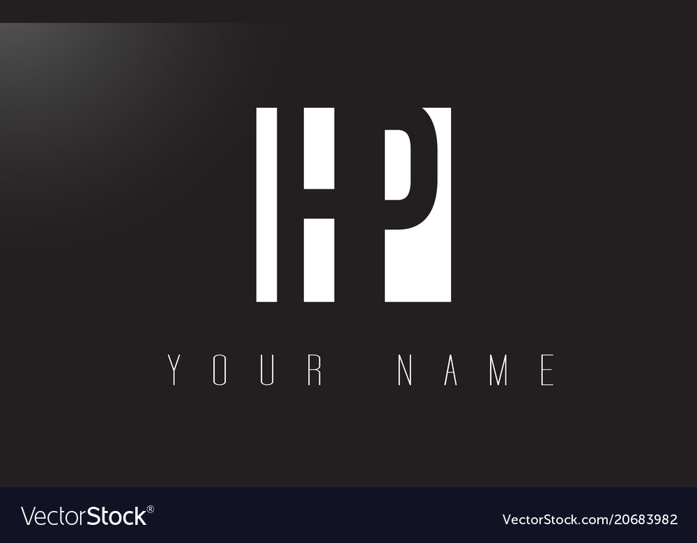 Hp Letter Logo With Black And White Negative Vector Image