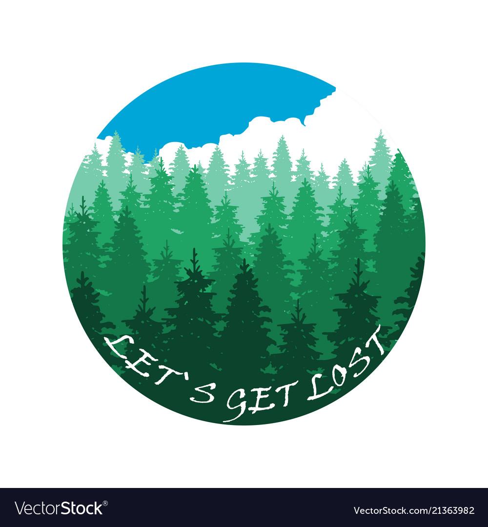 Lets get lost banner design with forest landscape