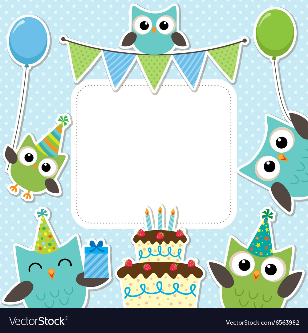 Party owls blue card