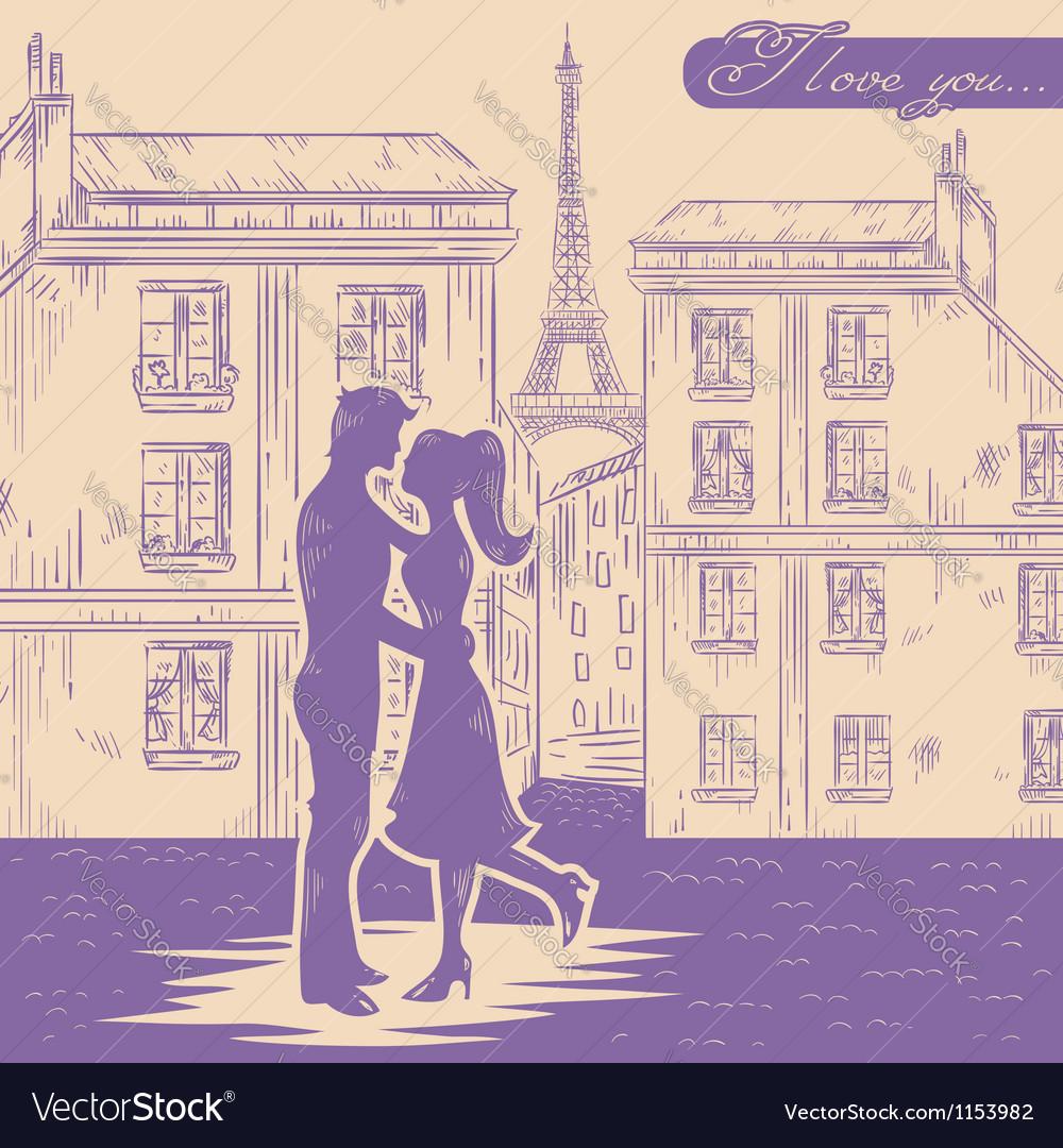 Romantic Valentine retro postcard