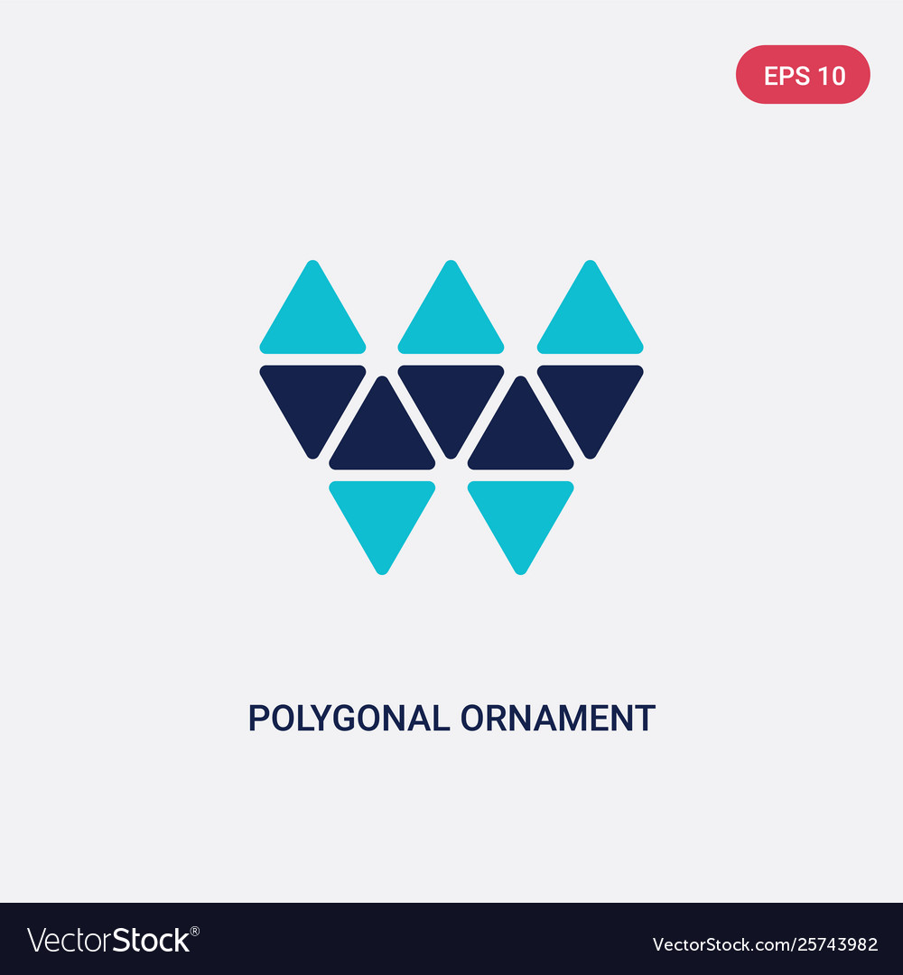 Two color polygonal ornament icon from geometry