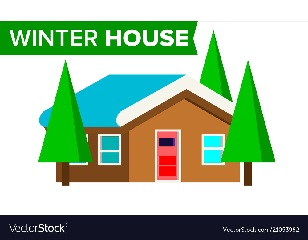 Winter house wooden home with snow forest