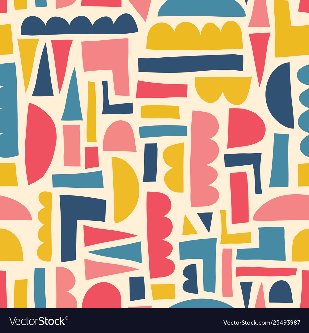 Abstract kids shapes seamless pattern paper