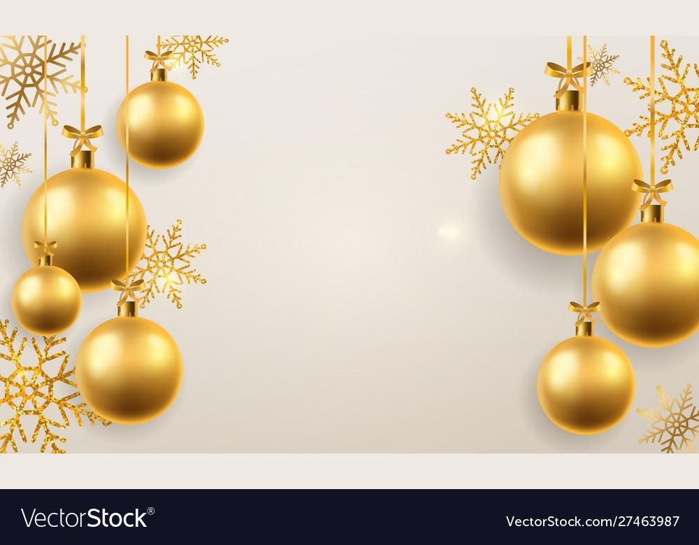 Christmas ball background golden xmas tree toys
