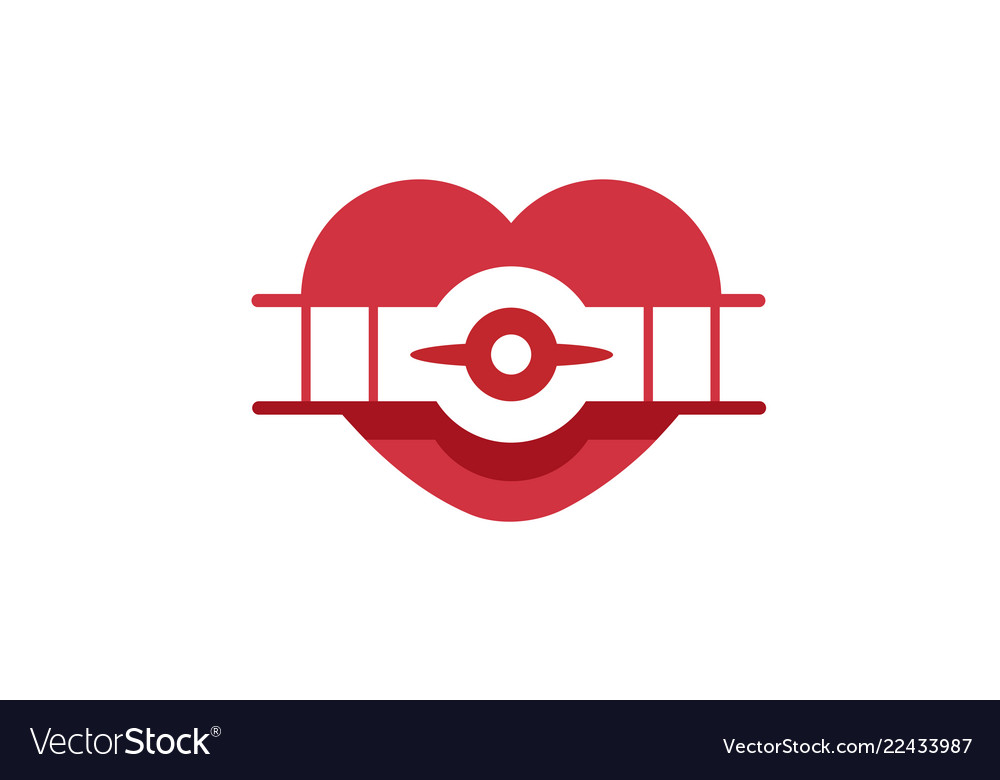 Creative retro aircraft heart symbol logo