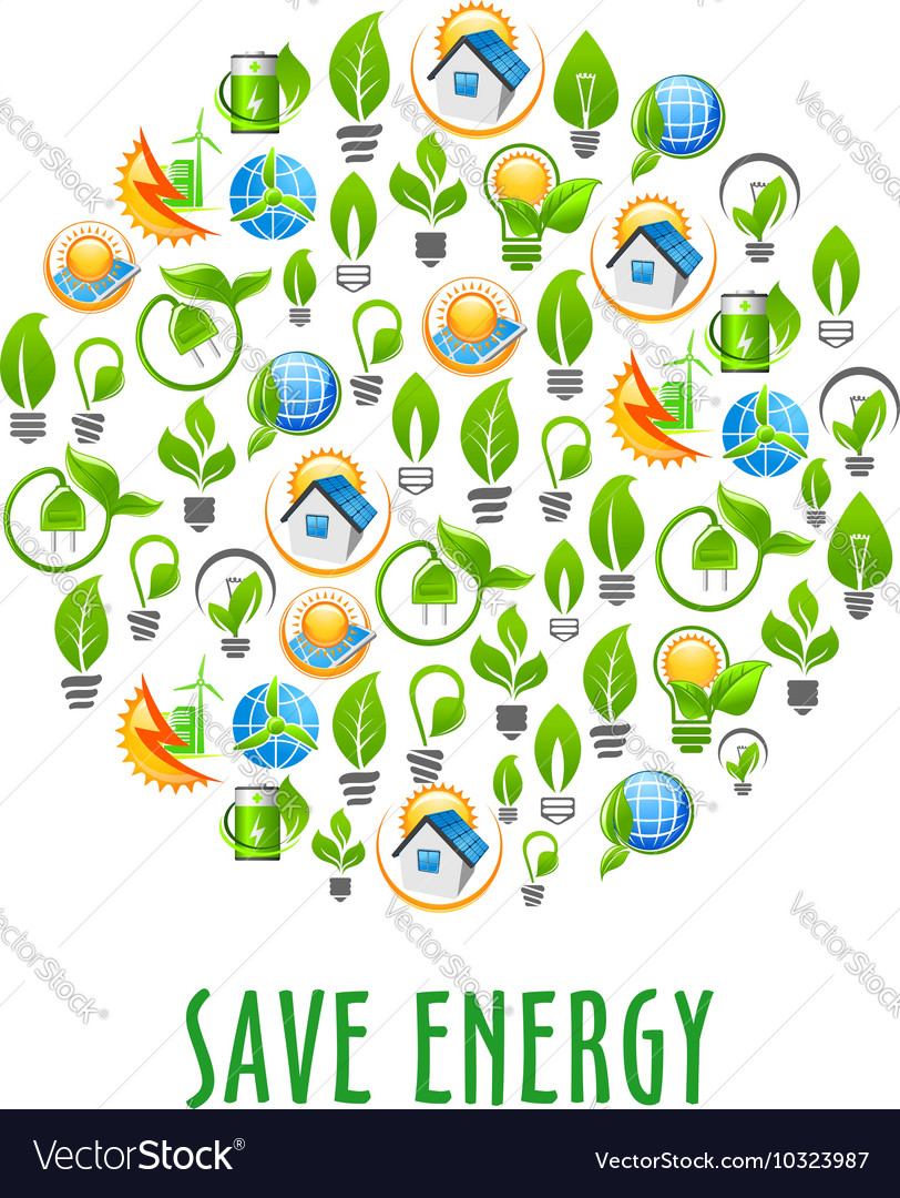 Energy saving round symbol with green power icons