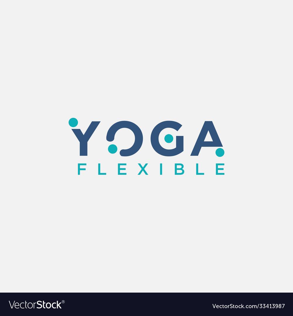 Flexible yoga wordmark logo icon template