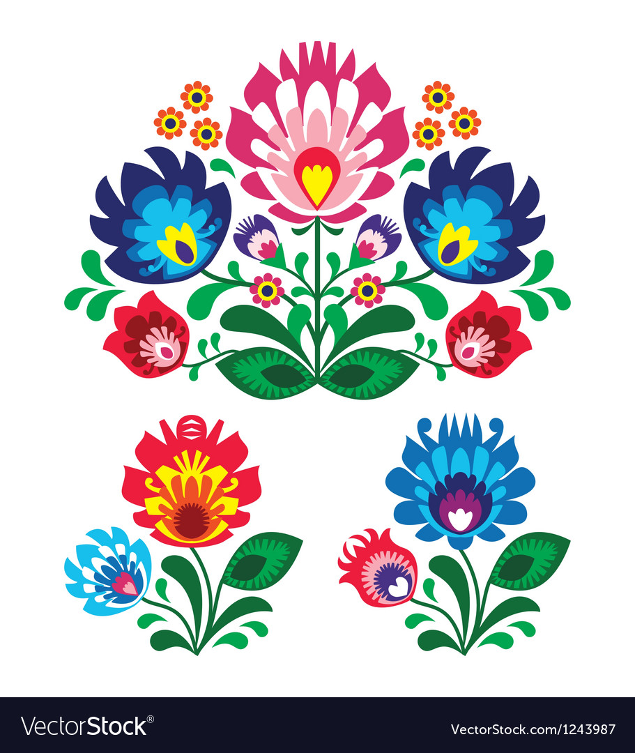 Polish floral folk embroidery pattern vector image