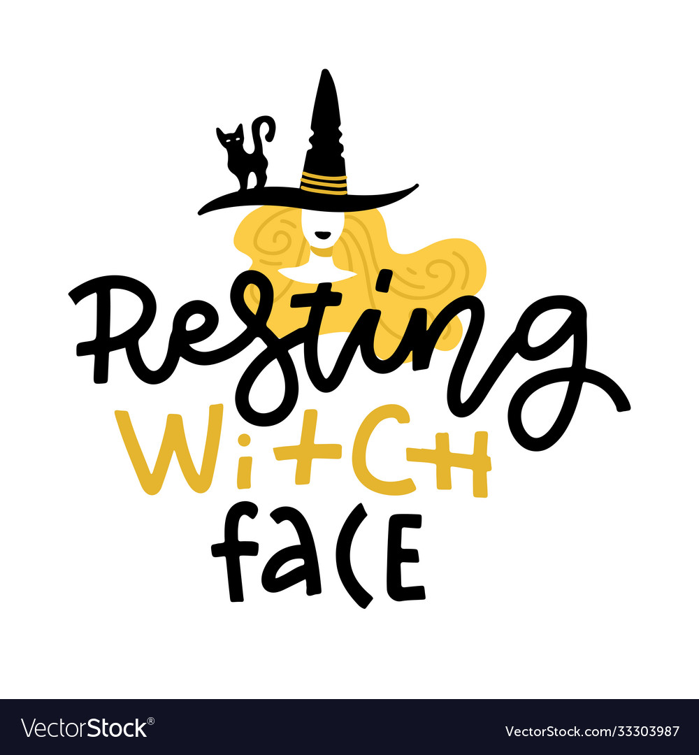 Pun halloween with cute doodle witch in hat and