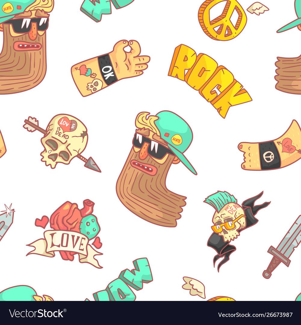 Rock music seamless pattern musician tattoo