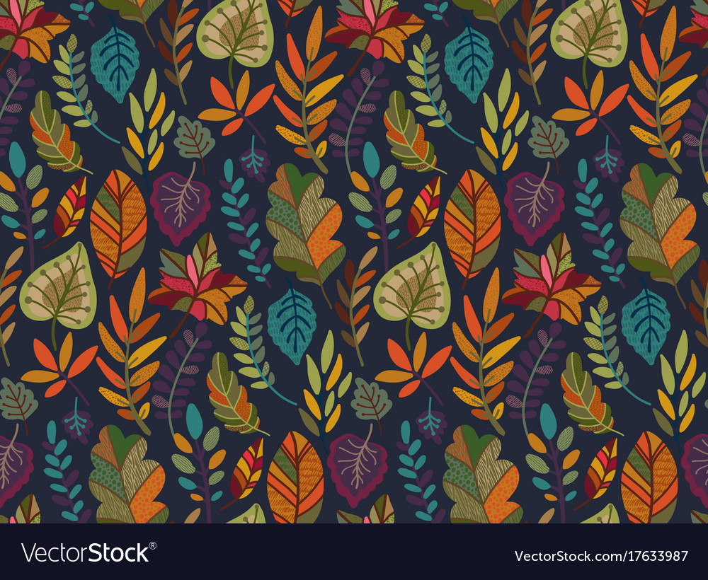 Seamless pattern with autumn nature