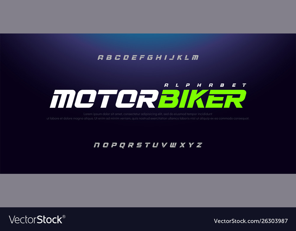 Sport modern italic alphabet font typography