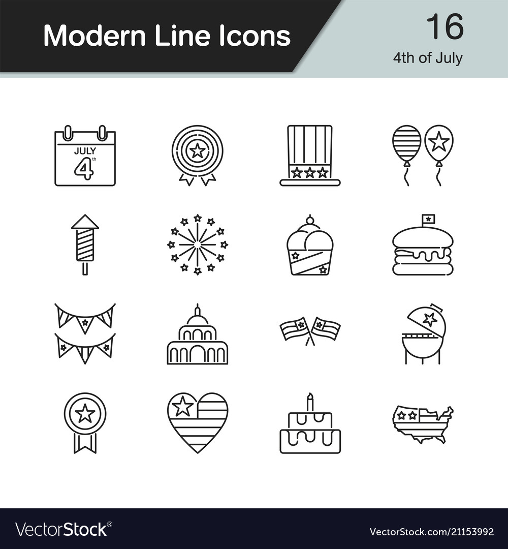 4th july independence day icons modern line