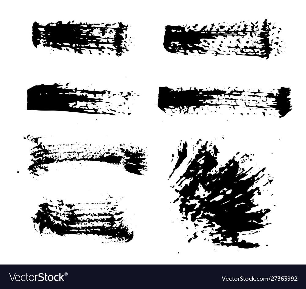 Black ink spots set on white background ink