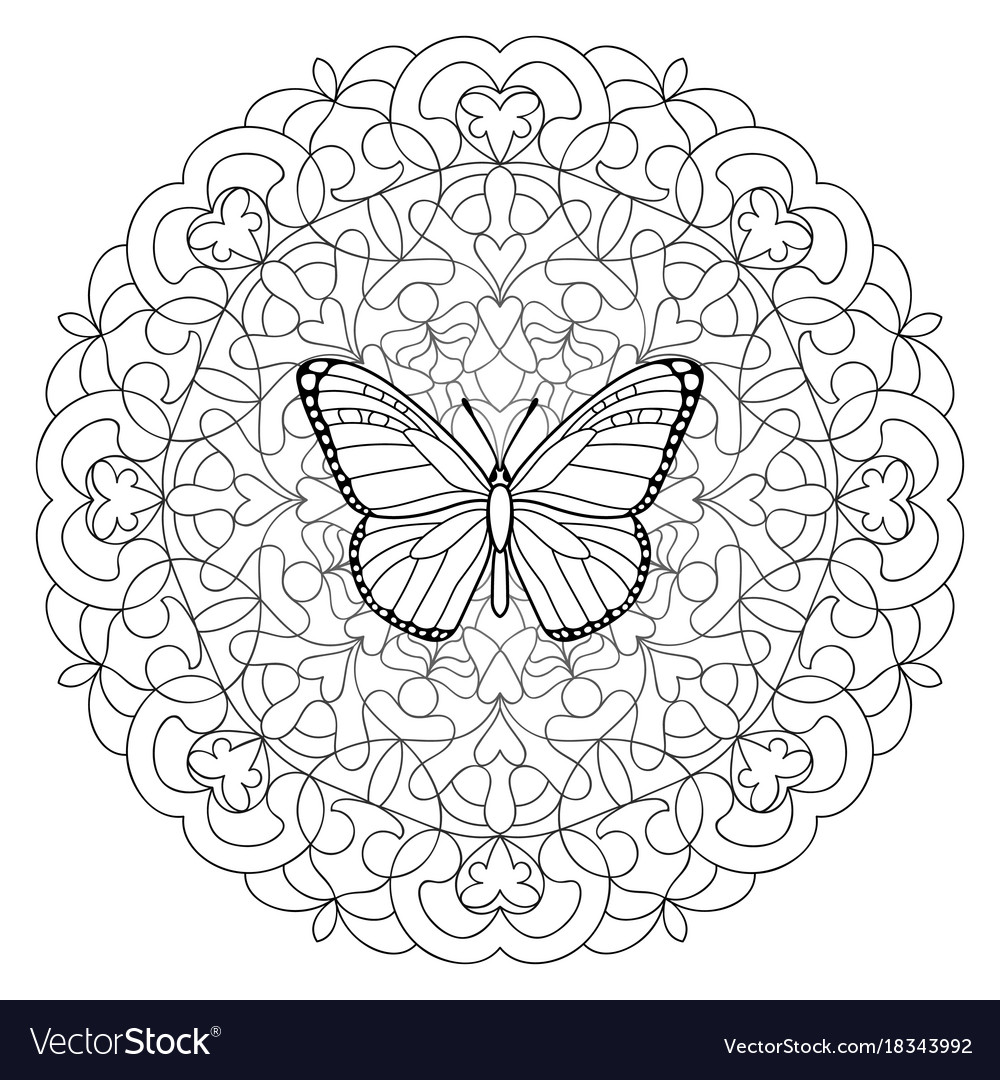 butterfly mandala coloring page royalty free vector image. Black Bedroom Furniture Sets. Home Design Ideas