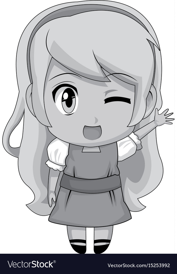 Cute Anime Chibi Little Girl Cartoon Style Vector Image