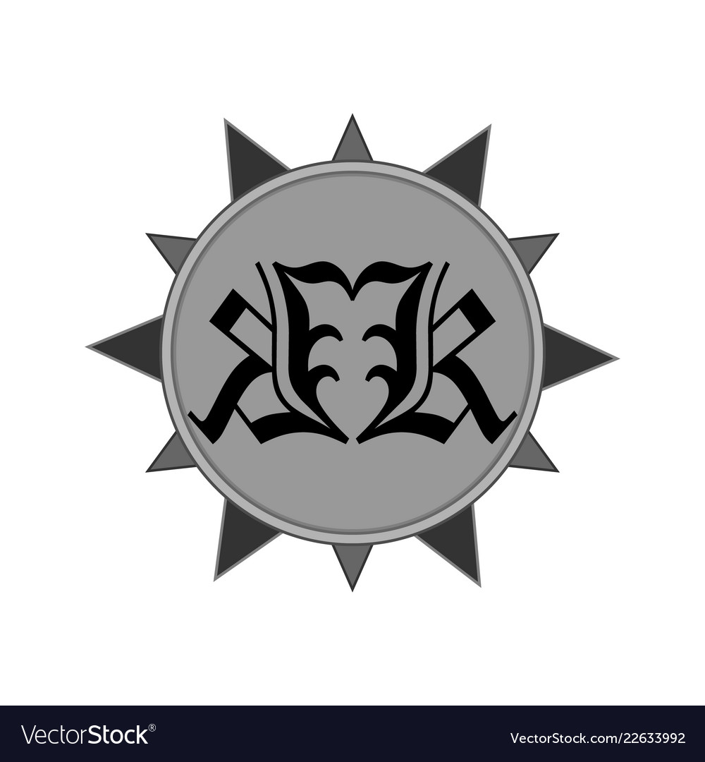 Emblem sign symbol with gothic pattern in the