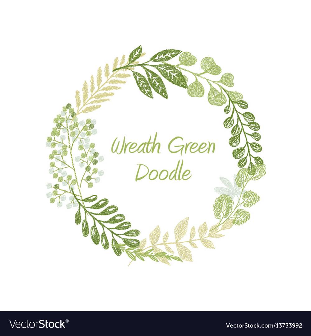 Green doodle circle wreath