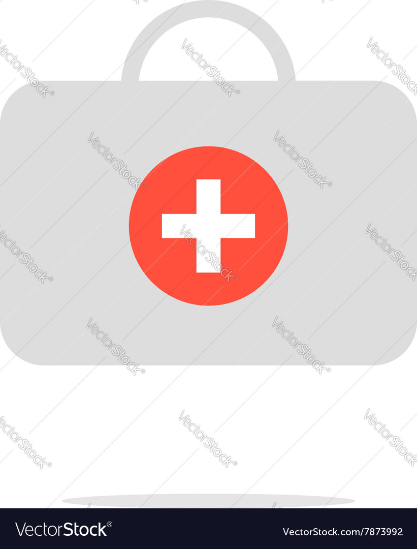 Grey medical suitcase with shadow vector image