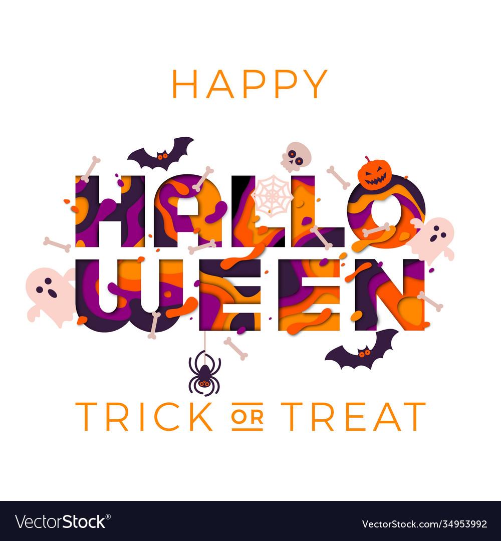 Halloween greeting card template papercut text
