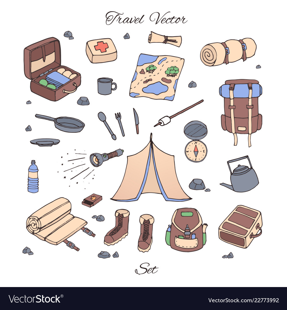 Hand drawn camping set with tent map compas