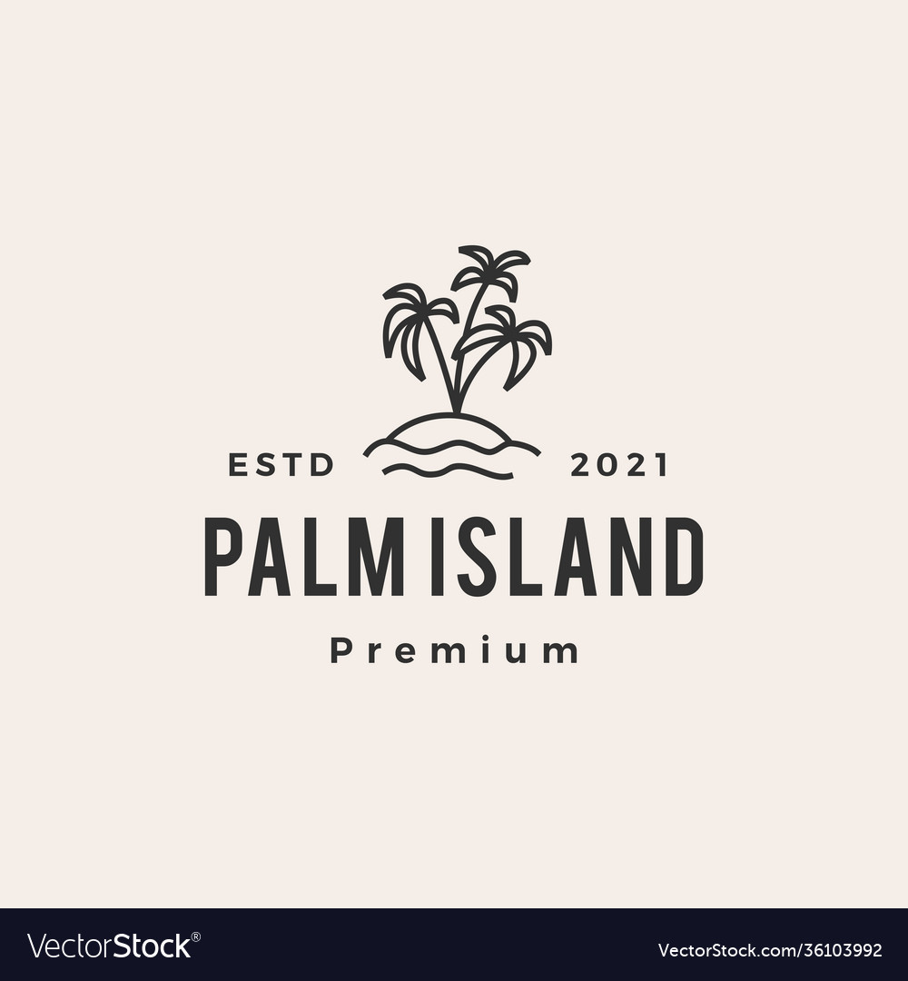 Palm tree island hipster vintage logo icon