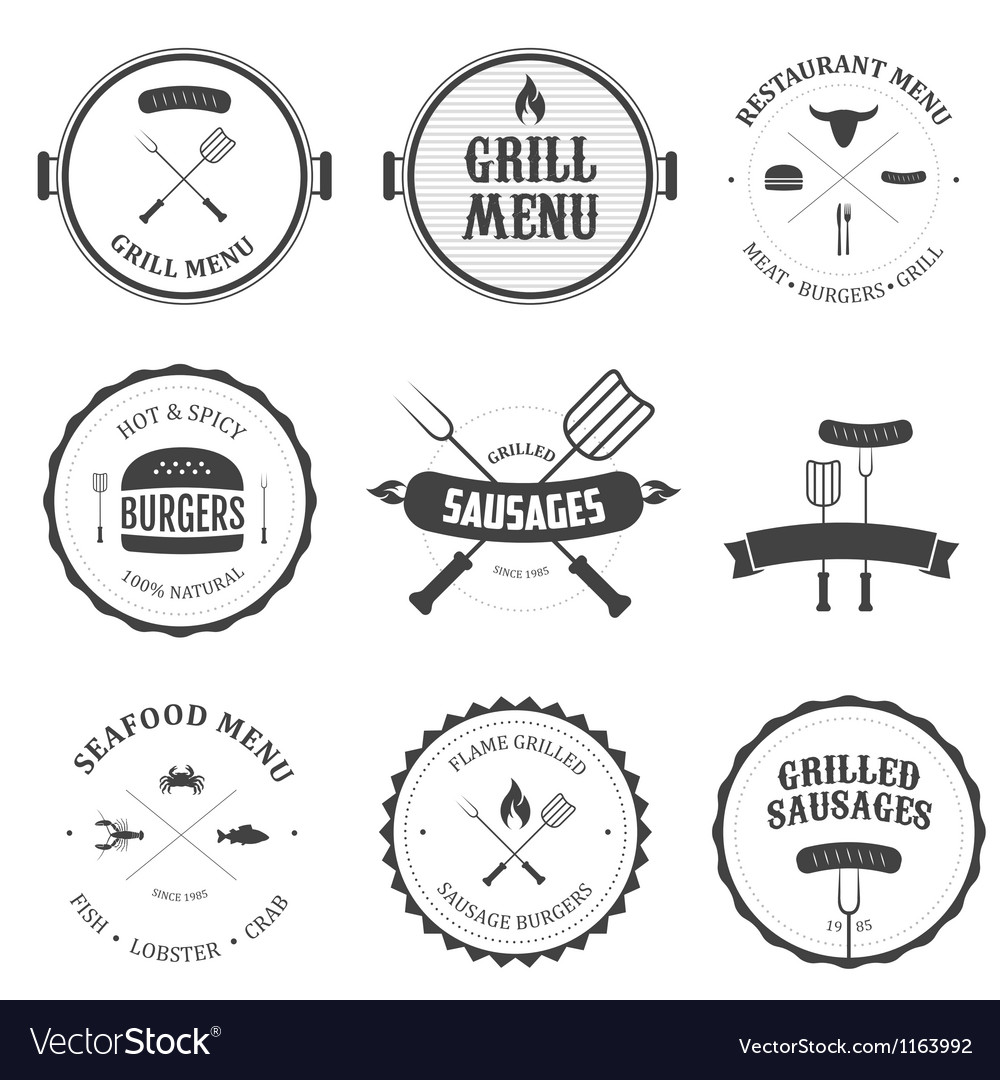 Restaurant menu vintage design elements set