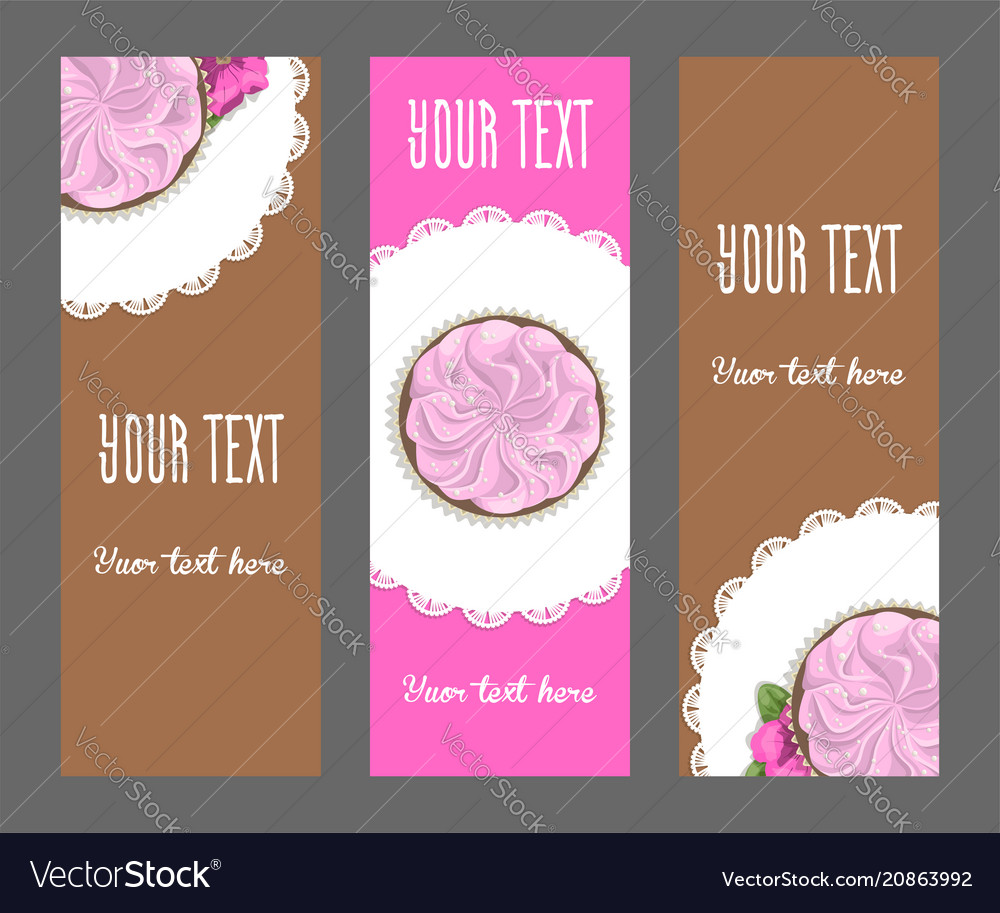 Set of vertical narrow banners cake and flower