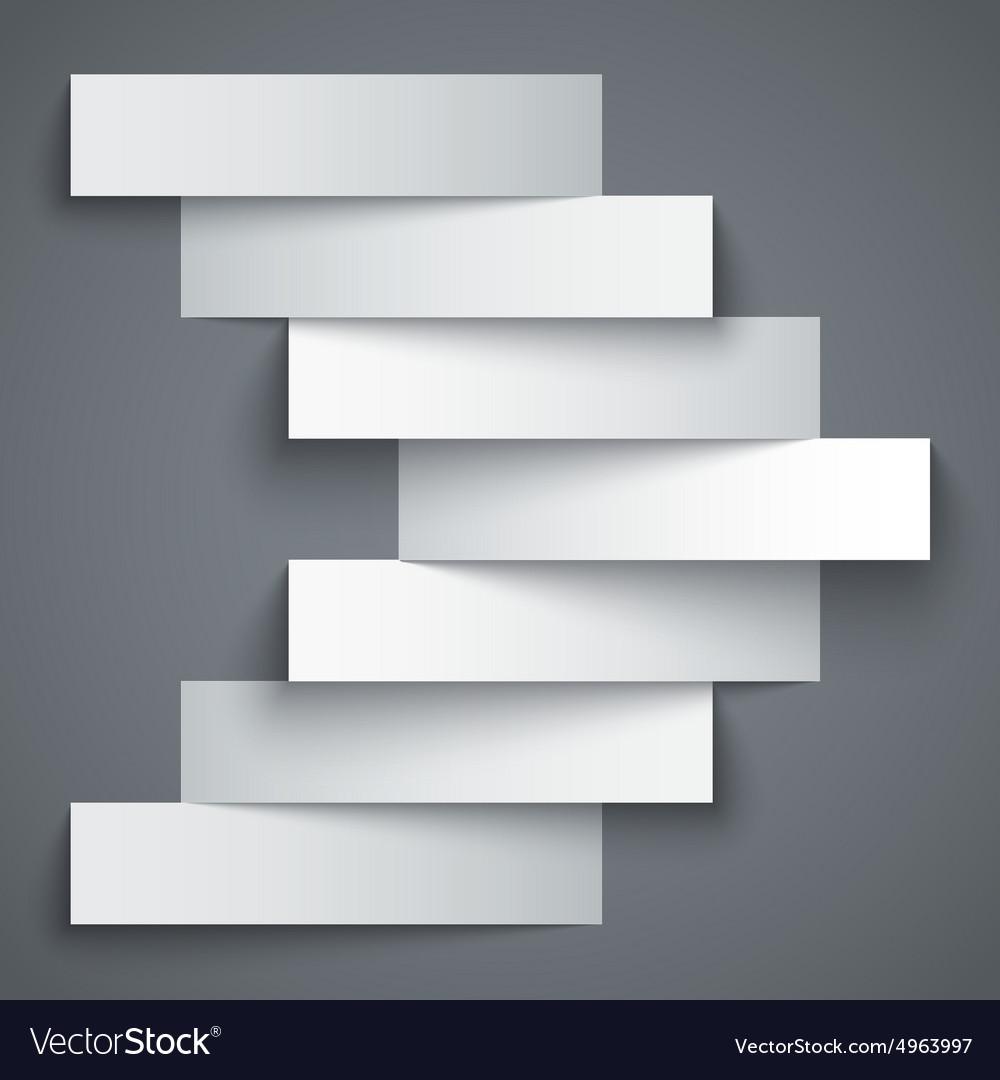 Blank paper stripe banners arrow on dark grey
