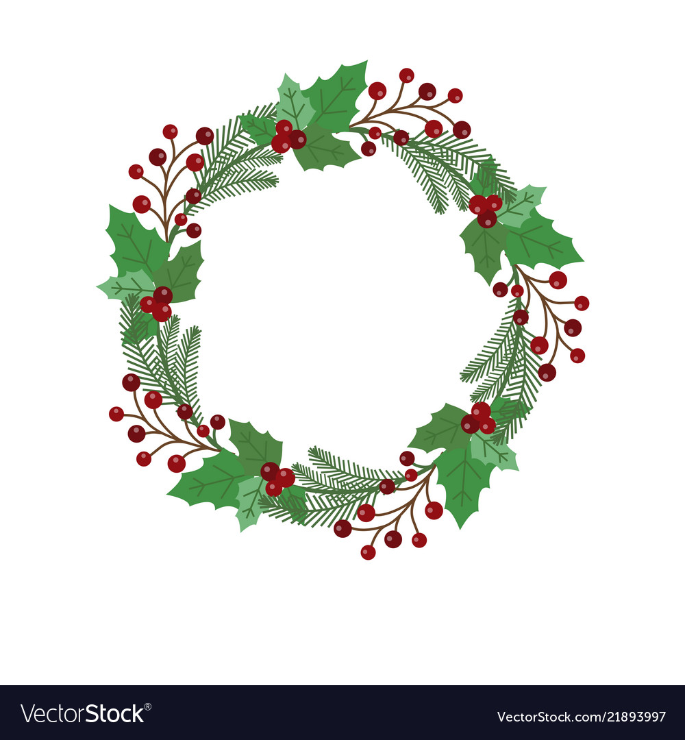 Christmas Holiday Wreath Icon Royalty Free Vector Image