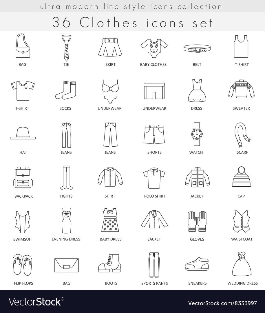 Clothes footwear ultra modern outline line vector image