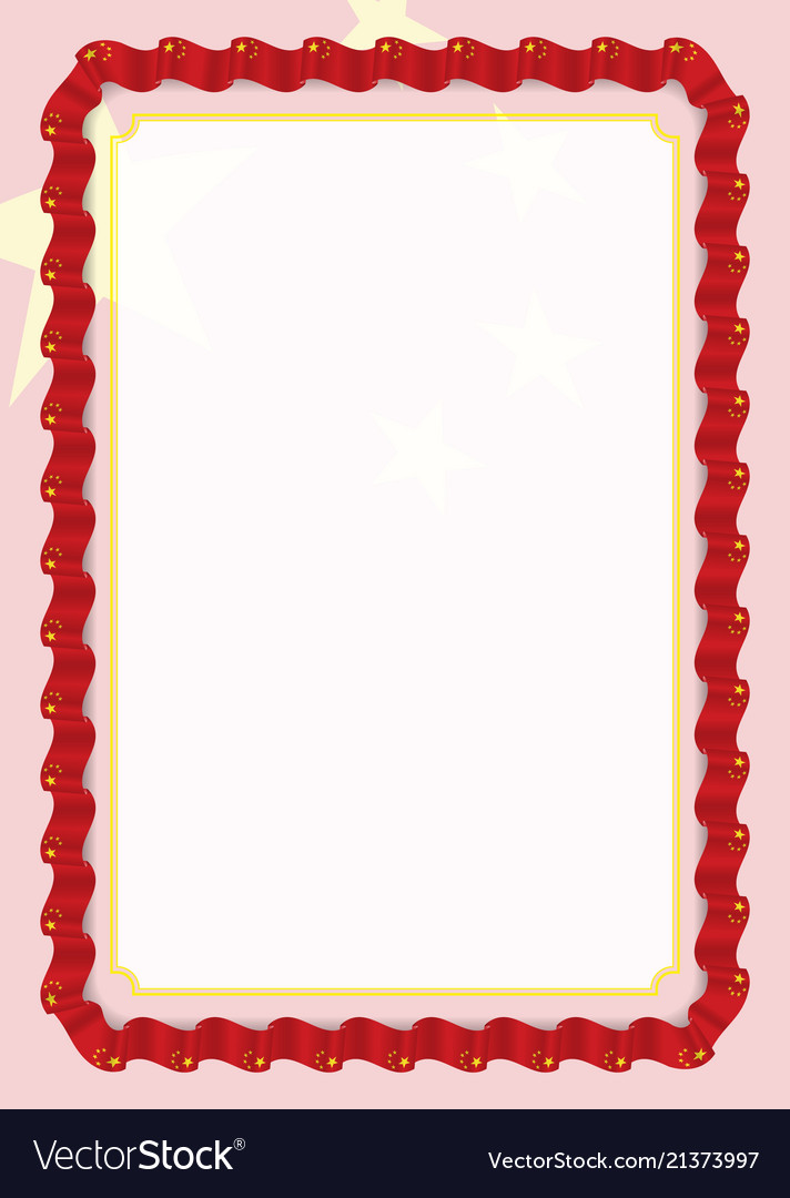 Frame and border of ribbon with china flag Vector Image
