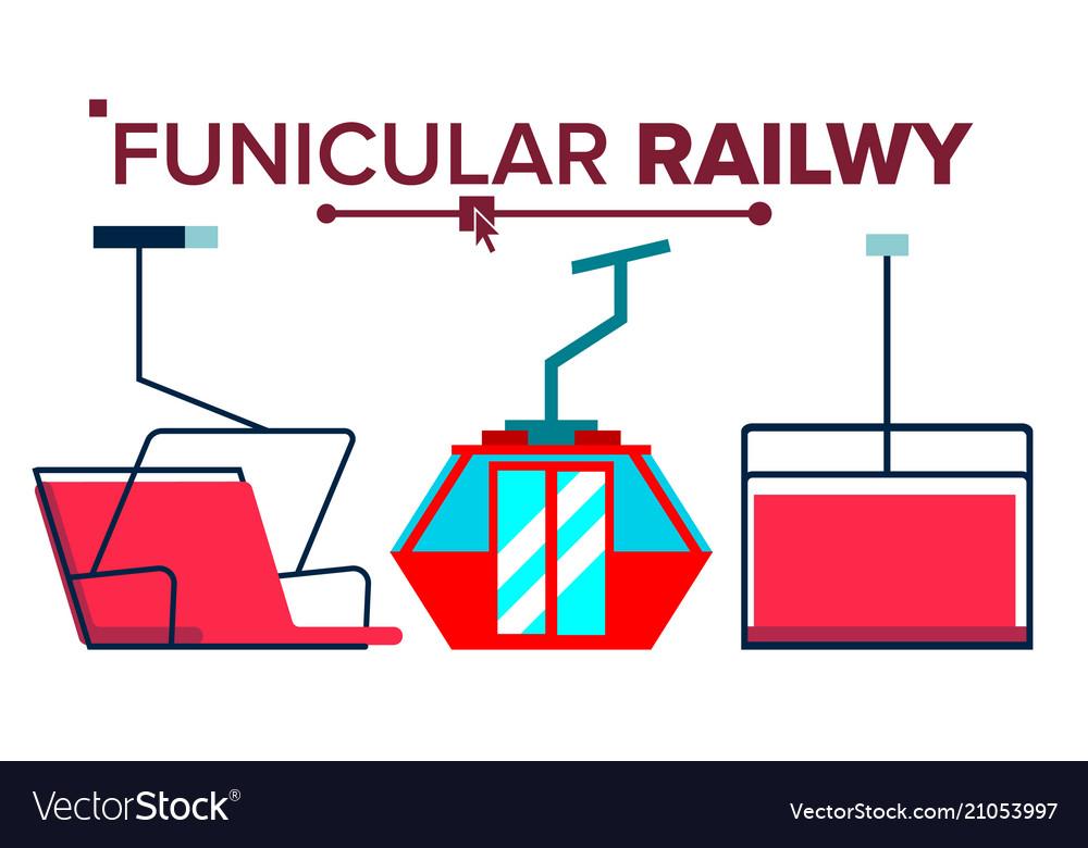 Funicular mountain railway ski cable car