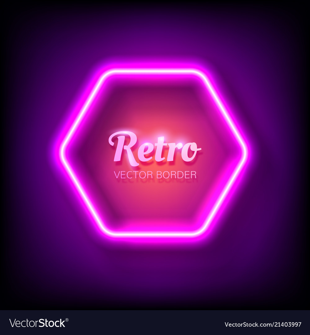 Glowing neon frame on colorful dark background