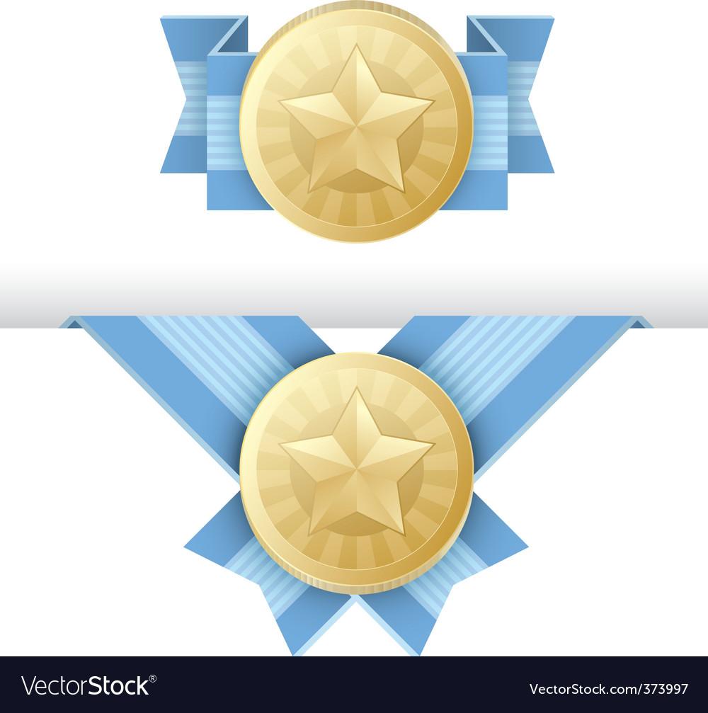 Gold medal award certificate vector image