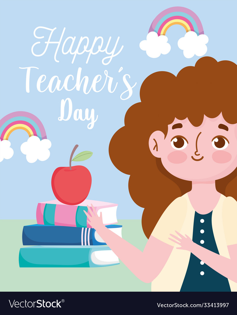 Happy teachers day cute teacher with stack