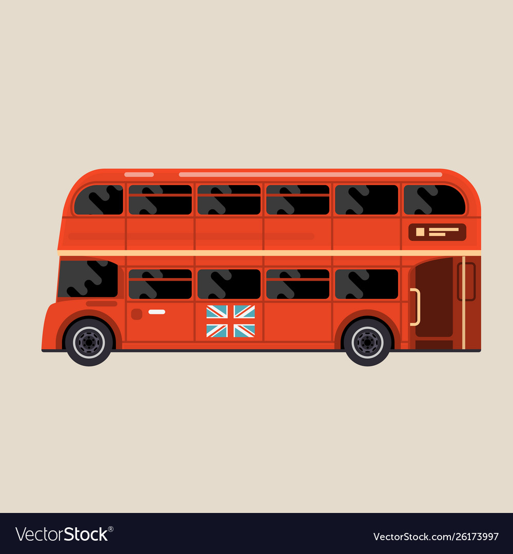 London red bus - double-decker bus side view